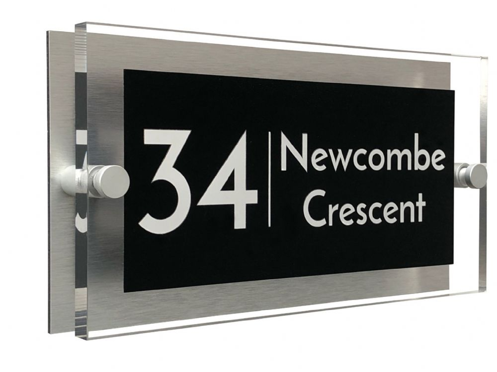 Rectangle Shape - Clear Acrylic House Sign - Black Colour with White text in Font  3